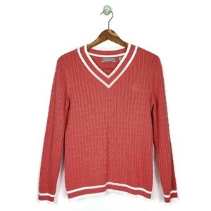 Liz Claiborne Coral Heathered Cable Knit Sweater